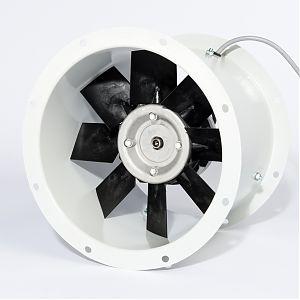 Axialventilatoren-Einheit mit breiten Flügeln in Aluminiumkonstruktion Frontansicht
